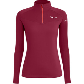 SALEWA *Sennes Dry Half Zip Langarm T-Shirt Damen rhodo red
